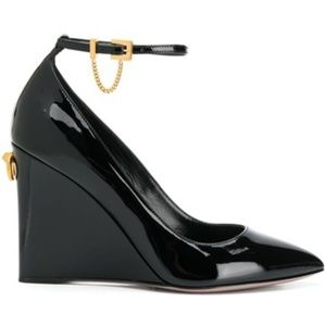Valentino Black Patent Leather Ringstud Wedges NEW